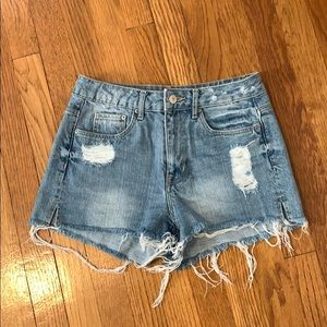 H & M high waisted distressed jean shorts